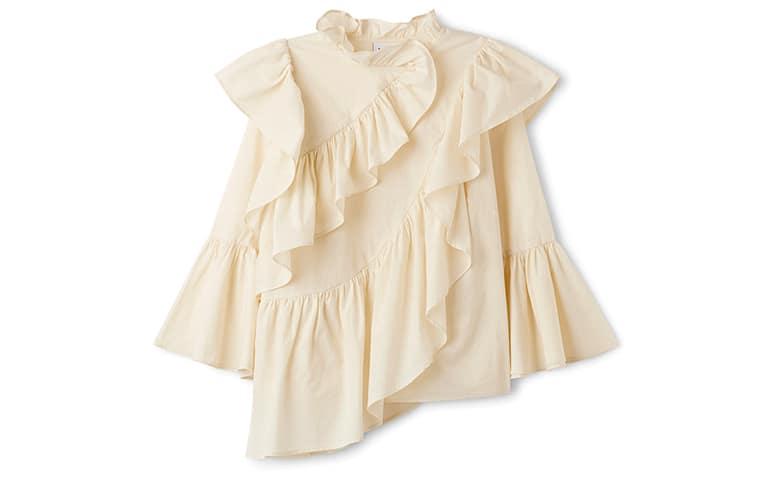 frill ruffle blouse asymmetric