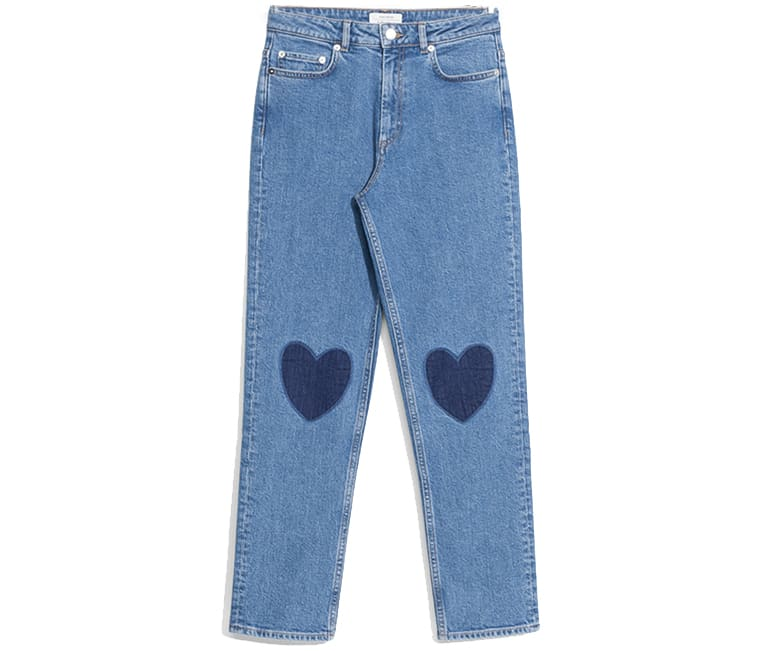 light blue denim straight leg heart knee detail jeans