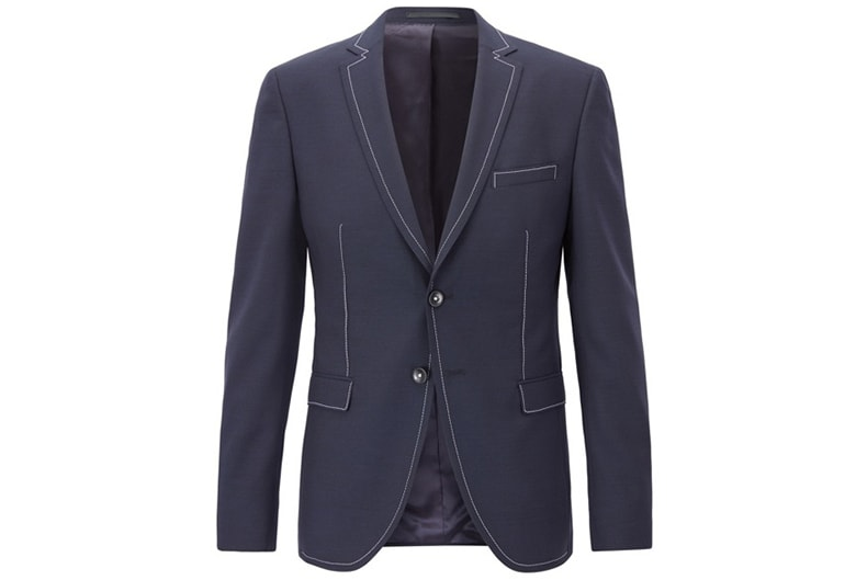hugo boss contrast stitch slim fit wool jacket