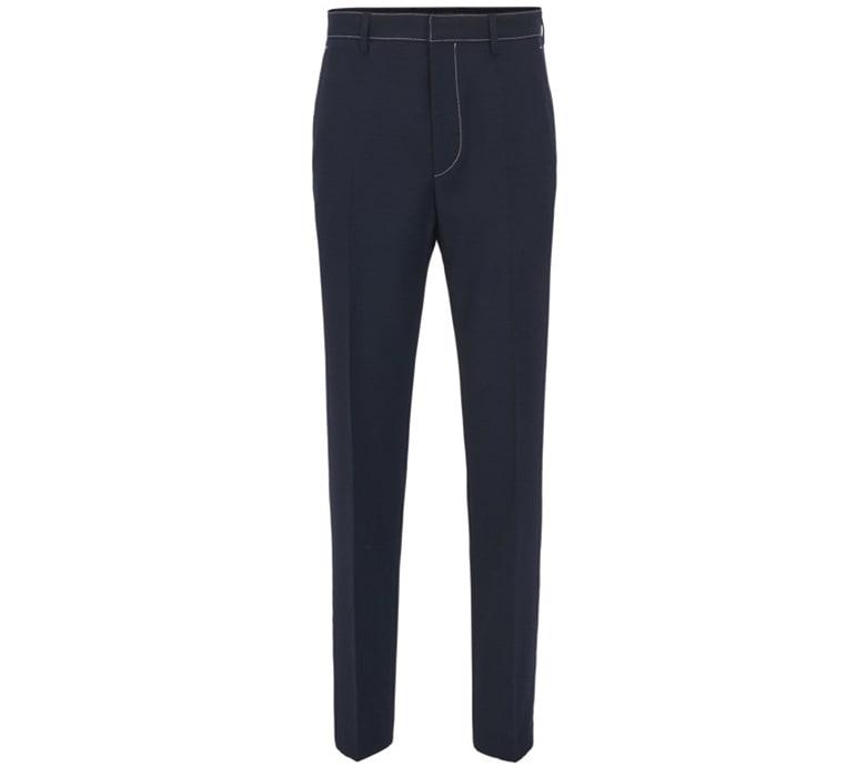 slim fit contrast stitch navy blue trousers hugo boss