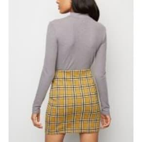 Petite Mustard Check Mini Tube Skirt New Look