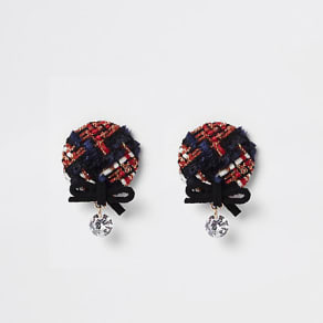 Womens Red check bow and diamante stud earrings