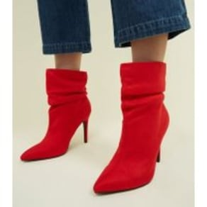 Wide Fit Red Suedette Stiletto Slouch Boots New Look