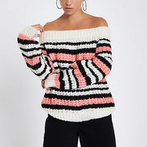 Womens Pink stripe knitted bardot jumper