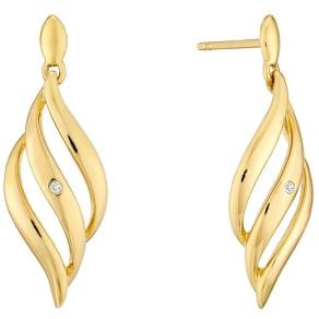 9ct Gold Diamond Set Triple Wave Drop Earrings