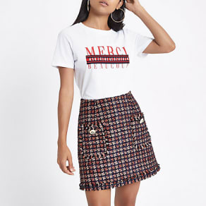 Womens Petite Red dogtooth print boucle skirt