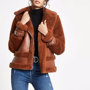 Womens Brown faux fur aviator jacket