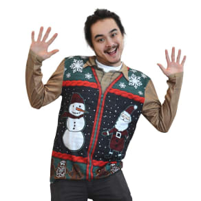 Men's Ugly Christmas Zip Sweater Vest Costume, Long Sleeve T-Shirt - XX-Large, Size: Xxl, Multicolored
