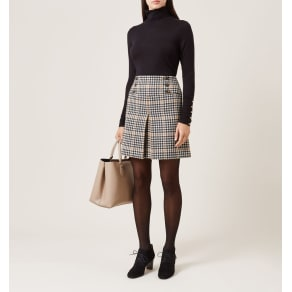 Joy Check Skirt Camel Black 8