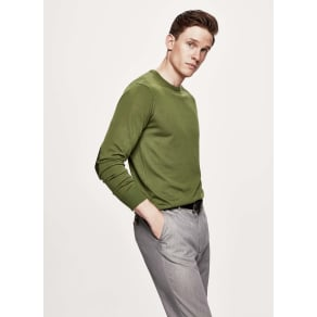 Fine Gauge Merino Wool Crew Neck Sweater