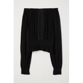 H & M - Blouse with a wide neckline - Black