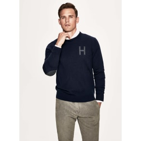 Tweed trim merino wool and cashmere crew neck sweater