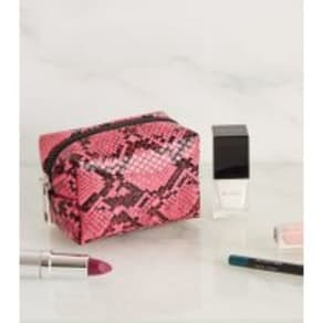 Bright Pink Faux Snake Mini Make-Up Bag New Look