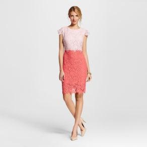 Women's Colorblock Lace Sheath Dress Pink/Coral 4 - Julia, Pink Beige