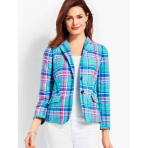 Talbots: Madras Double Button Sunshine Blazer