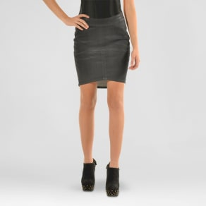 s&p by standards & practices Women's Premium Coated Denim Mini Skirt - Black 26