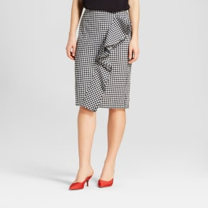 Women's Ruffle Pencil Midi Skirt - Who What Wear Black Gingham 10