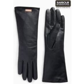 Womens Barbour International Black Latch Leather Gloves -  Black