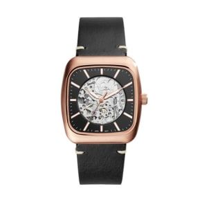 Fossil Rutherford Automatic Three-Hand Black Leather Watch  Jewelry - ME3156