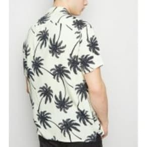 Black Palm Print Revere Collar Shirt New Look