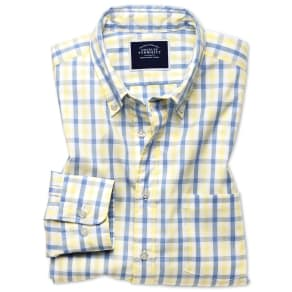 Classic Fit Yellow and Blue Gingham Soft Washed Non-Iron Tyrwhitt Cool Cotton Shirt Single Cuff Size Small by Charles Tyrwhitt