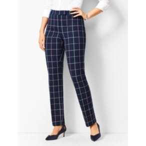 Talbots: Bi Stretch High Waist Straight Leg Pants Curvy Fit/Plaid