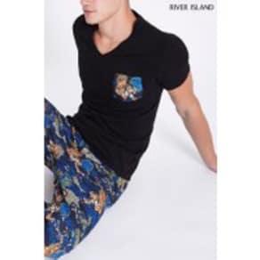 Mens River Island Baroque Tiger Loungewear Set -  Black