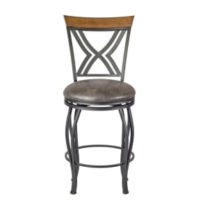 Madelyn 24 Counter Stool Upholstered Seat - Nickel Metal - Linon, Silver