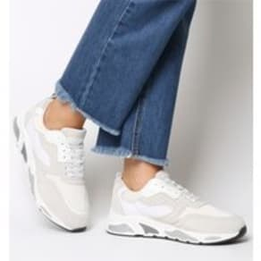 Office Fuller Lace Up Trainer WHITE  GREY LEATHER