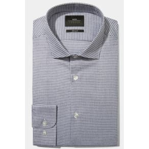 Moss London Skinny Fit Blue Single Cuff Jaspe Houndstooth Shirt