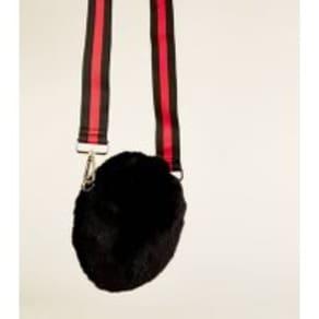 823777689902 Black Faux Fur Stripe Strap Circle Bag New Look