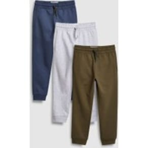 Boys Next Khaki/Grey/Blue Joggers Three Pack (3-16yrs) -  Green