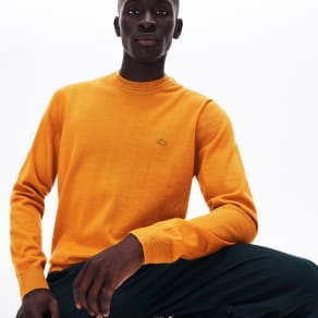 Lacoste Men´s Crew Neck Wool Jersey Sweater Size 5 - L Yellow