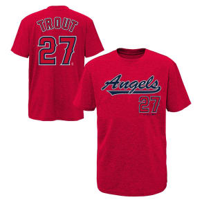 Los Angeles Angels Boys' Short Sleeve Crew Neck Mike Trout Jersey T-Shirt - M