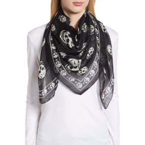 Women's Alexander Mcqueen Skull Foulard Silk Scarf, Size One Size - Black