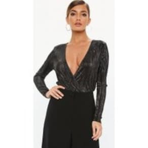 b91cf052fc7bb Black Glitter Plisse Flared Bodysuit, Silver. Missguided