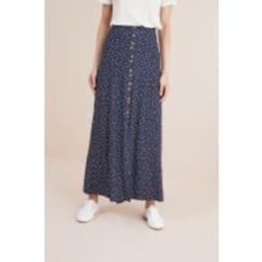 Womens Next Navy Spot Maxi Button Skirt -  Blue
