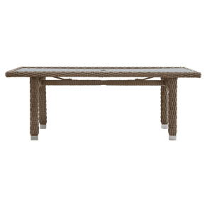 outdoor furniture decor outdoor seating riviera rectangular pointe glass top wicker patio dining table brown inspire outdoor furniture bbq home decor westfield