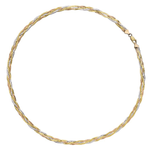 "9ct Three Colour Gold 18"" Plaited Herringbone Necklace"
