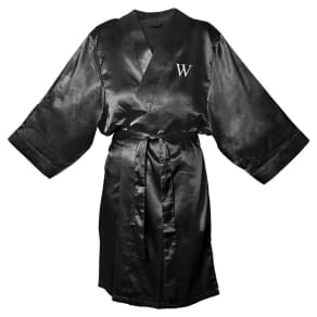 Monogram Bridesmaid SM Satin Robe - W, Size: SM - W, Black