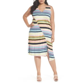 b4a8ca1fb87 Plus Size Women  039 s Rachel Rachel Roy Asymmetrical Cinched Stripe Dress