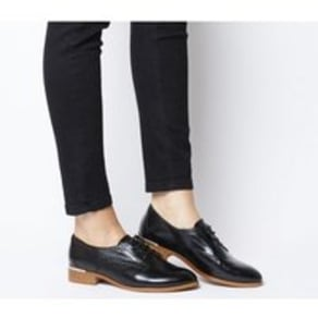 Office Format Lace Up With Heel Clip BLACK LEATHER