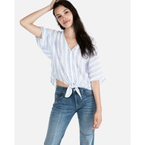 c7388559a762 Express Womens Striped V-Neck Tie Front Shirt Blue Women's S