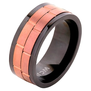 Men's West Coast Jewelry Coffee- Tone Two-Tone Stainless Steel Dual Spinner Ring (9), Black Brown