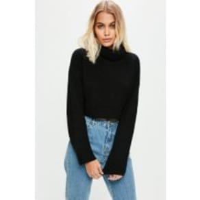 df6a284038c9f0 Black Roll Neck Knitted Crop Jumper