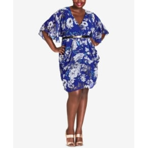 f01a0cb8a7 City Chic Trendy Plus Size Belted Floral-Print Dress
