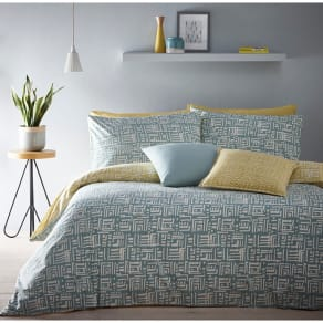 Home Collection - Aqua And Yellow Reversible 'Soldermalm' Bedding Set