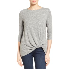 Petite Women's Gibson Cozy Twist Front Pullover, Size LargeP - Grey