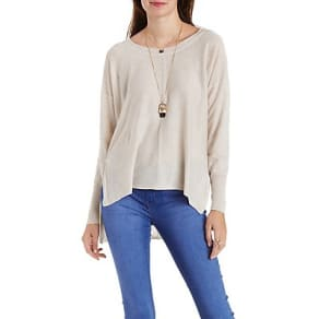 High-Low Scoop Neck Pullover