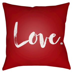 "Red Signature Love Throw Pillow 16""""x16"""" - Surya"